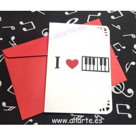 """Tarjeta con sobre """"I love Piano"""""""