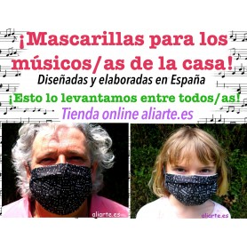 Mascarilla higiénica motivos musicales