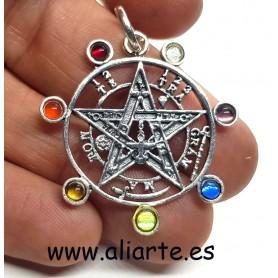 Tetragramatón con Chakras colgante de Plata