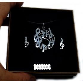 Conjunto Pentagrama con pendientes de clave de sol 2, de PLATA