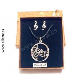 Conjunto Pentagrama con pendientes de clave de sol, de PLATA