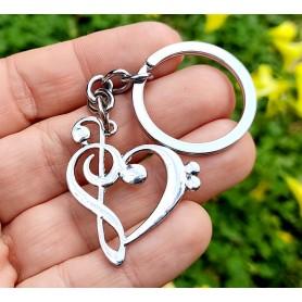 Llavero clave de sol y clave de fa corazón