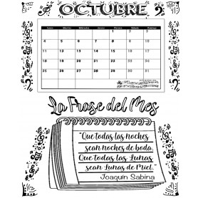 Calendario Mensual OCTUBRE con Frase del Mes   2021