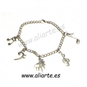Pulsera de metal con piano y claves